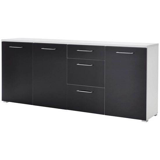 Feya Glass Sideboard Wide In White And Anthracite With 3 Doors_1