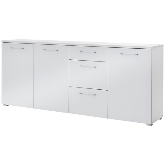 Feya Glass Sideboard Wide In White With 3 Doors And 3 Drawers