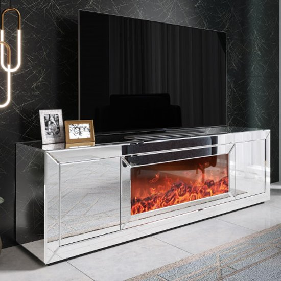 View Fibramu mirrored wooden tv stand in silver