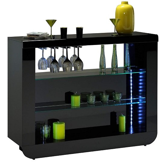 Fiesta Bar Table Unit In High Gloss Black With LED Lights