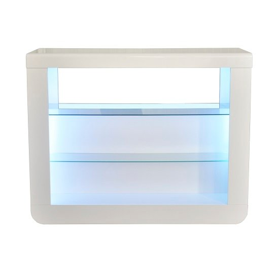 Fiesta Bar Table Unit In High Gloss White With LED Lights_2