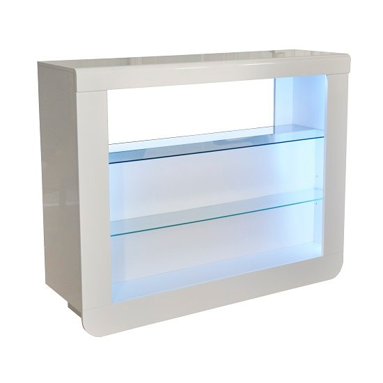 Fiesta Bar Table Unit In High Gloss White With LED Lights_3