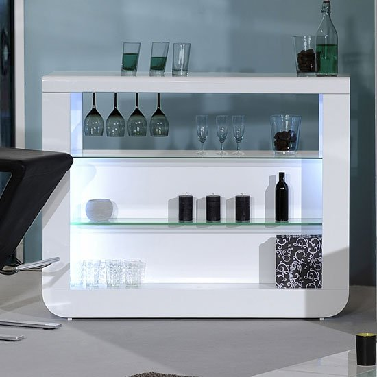 Fiesta Bar Table Unit In High Gloss White With LED Lights_1