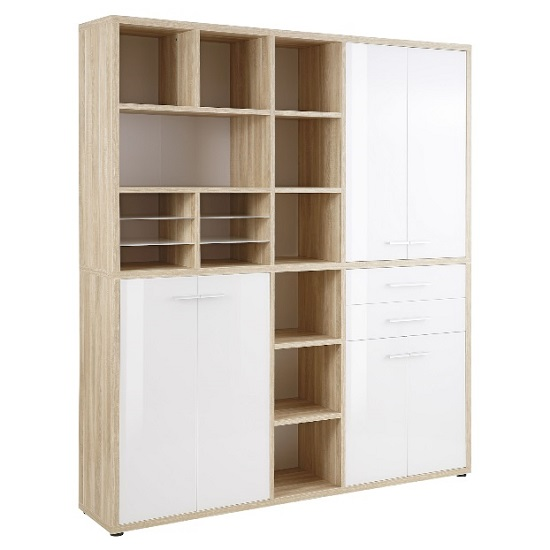 Figaro Highboard Storage Unit In Natural Oak And White Glass