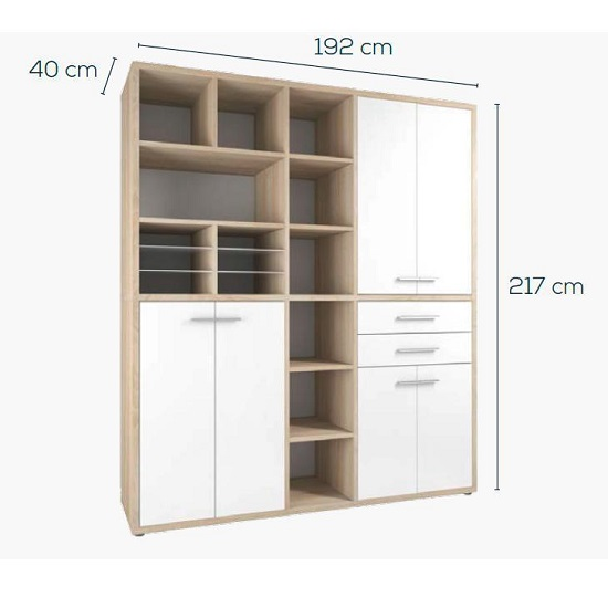 Figaro Highboard Storage Unit In Natural Oak And White Glass_2