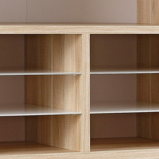 Figaro Highboard Storage Unit In Natural Oak And White Glass_3