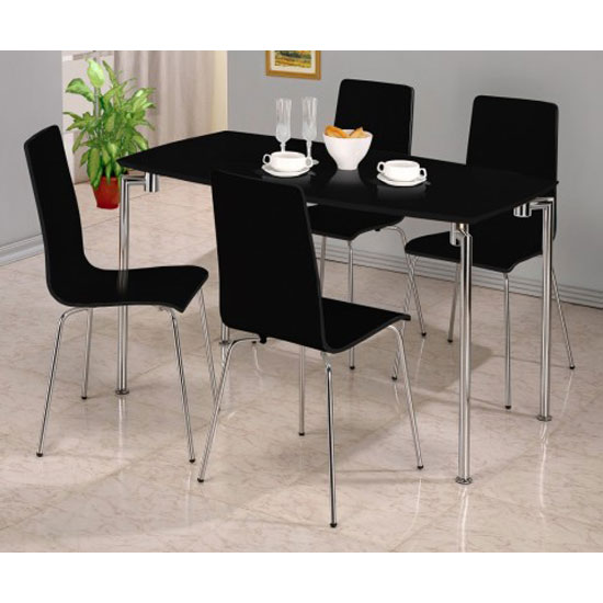 Fiji High Gloss Rectangle Dining Set in Black