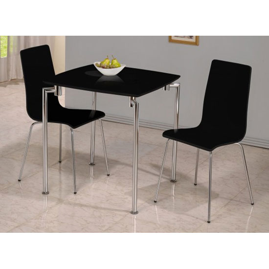 Fiji high gloss small dining set in black 19035 furniture for Small black dining table set
