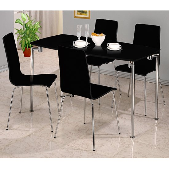 Fiji Rectangular Dining Set In Black High Gloss With 4 Chairs