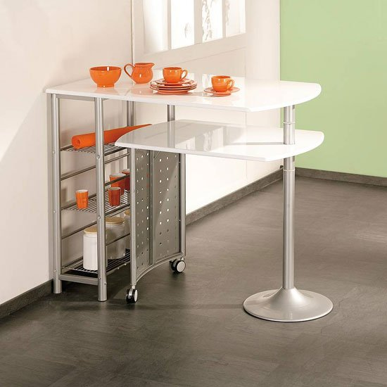 Filamento Bar Table In Metal Silver Grey And White