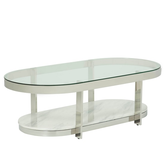 Filea Glass Top Coffee Table In Clear With Silver Frame