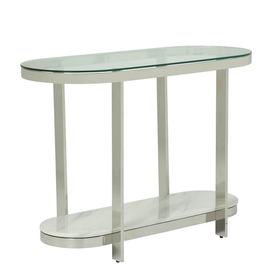 Filea Glass Top Console Table In Clear With Silver Frame