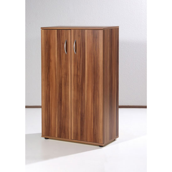 Power Filing Cabinet In Walnut With 2 Doors