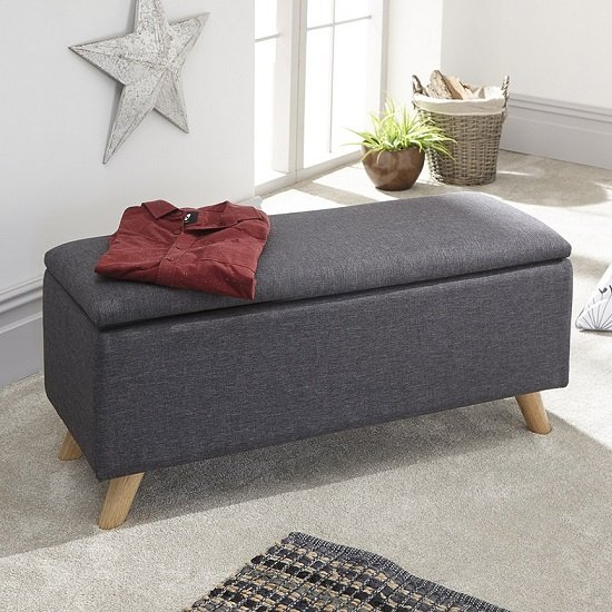 Finch Fabric Ottoman Storage Unit In Charcoal