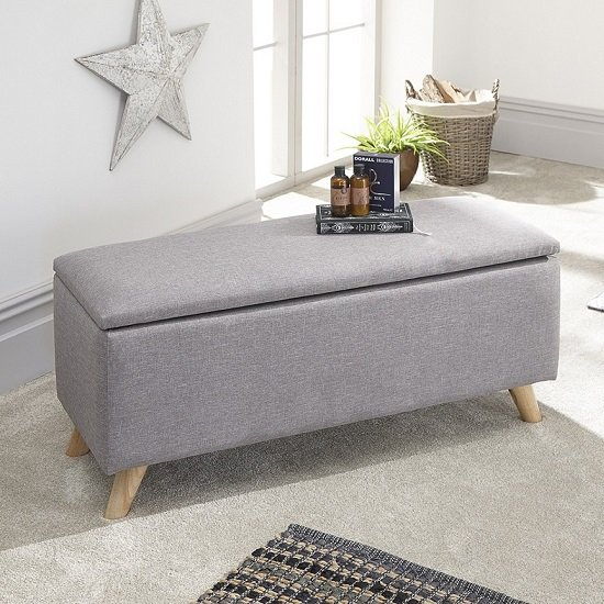 Finch Fabric Ottoman Storage Unit In Grey