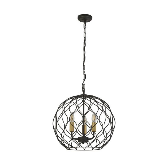 Finesse Round 3 Pendant Light In Black With Gold Lamp holders