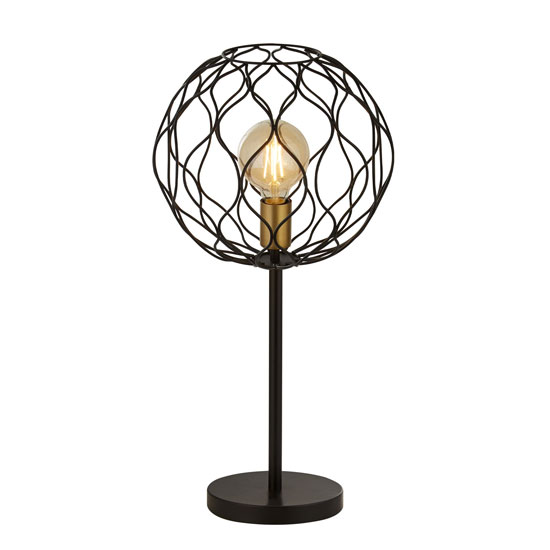 Finesse Table Lamp In Black With Gold Lamp holder