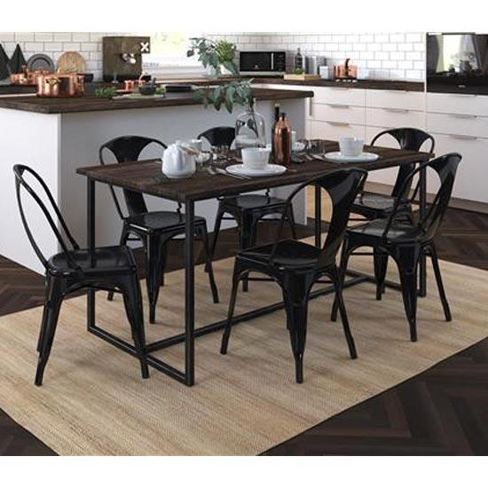 Finn Black Metal Dining Chairs In Pair_2