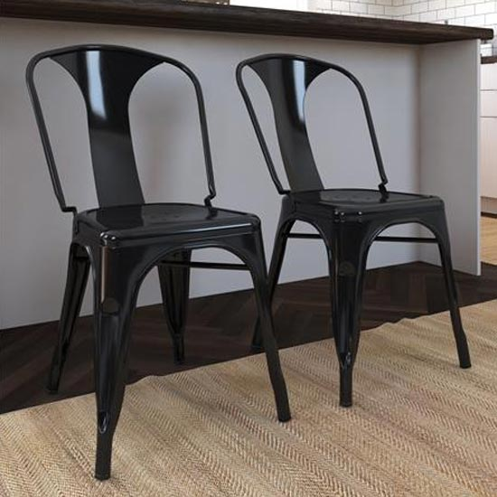 Finn Black Metal Dining Chairs In Pair_1