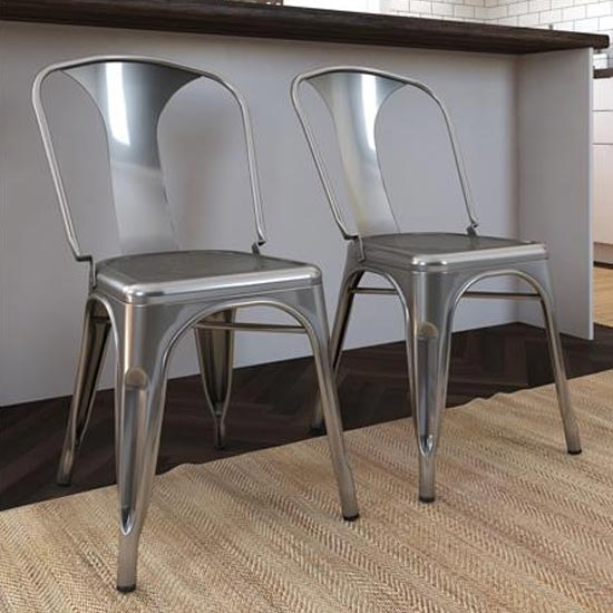 Finn Grey Metal Dining Chairs In Pair