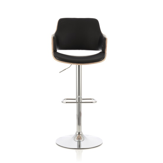 Finnley Bar Stool In Oak And Black PU With Chrome Base