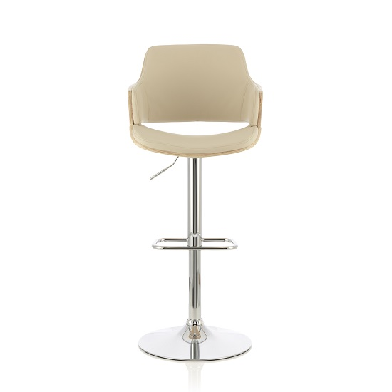 Finnley Bar Stool In Oak And Cream PU With Chrome Base