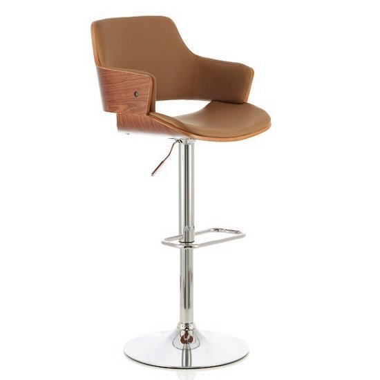 Finnley Bar Stool In Walnut And Beige PU With Chrome Base