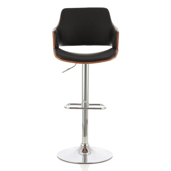 Finnley Bar Stool In Walnut And Black PU With Chrome Base