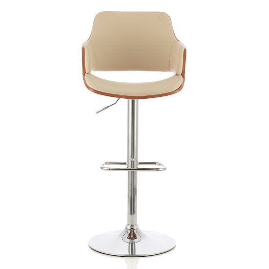 Finnley Bar Stool In Walnut And Cream PU With Chrome Base