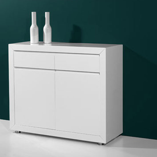Fino Modern High Gloss White 2 Door Sideboard With 2