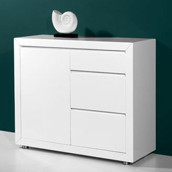 Fino Contemporary Gloss White 1 Door Sideboard With 3 Drawers