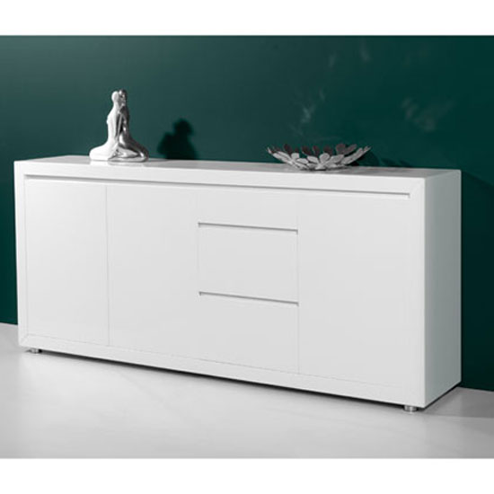Fino Contemporary Gloss White 3 Door Sideboard With 3 Drawers