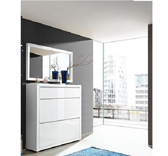 Fino shoe cabinet in white gloss with mirror 20659
