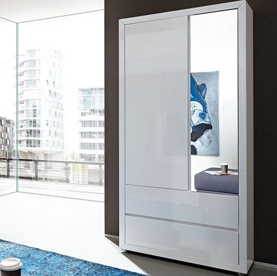 Fino Wardrobe In White Gloss With Drawers