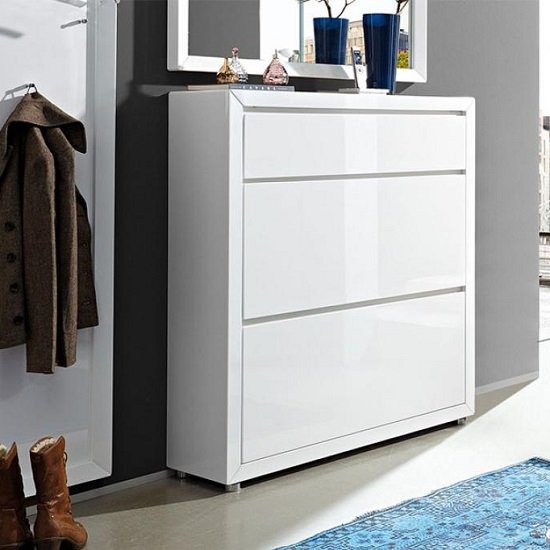 White Hallway Storage Furniture: Fino Shoe Cabinet In White Gloss With 1 Drawer And 2 Doors