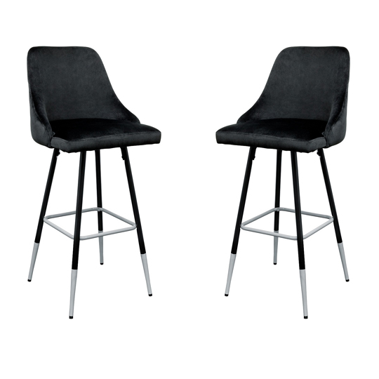 Fiona Black Fabric Bar Stool In Pair