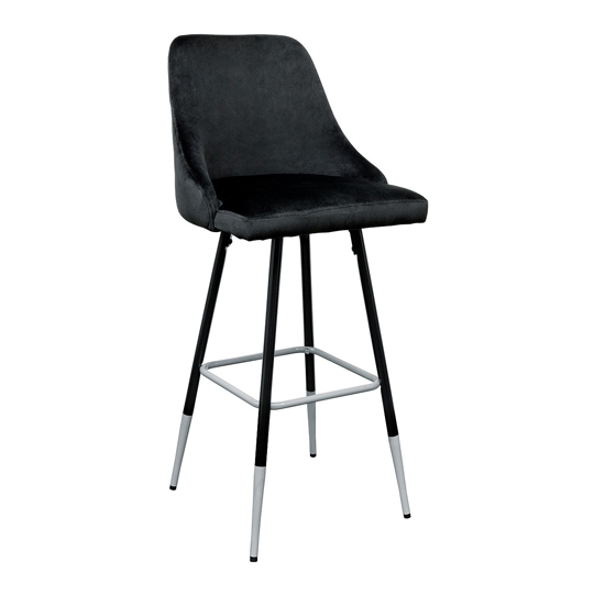 Fiona Black Fabric Bar Stool With Metal Legs