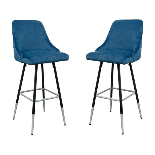 Fiona Blue Fabric Bar Stool In Pair
