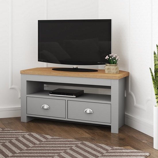 huge selection of 57fc5 838f3 Fiona Wooden Corner TV Stand In Grey And Oak With 2 Drawers