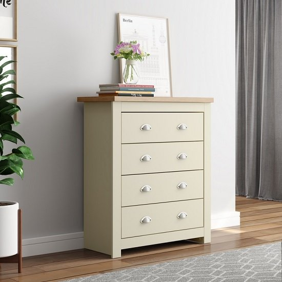 Fiona Wooden Chest Of Drawers In Cream And Oak With 4 Drawers_1