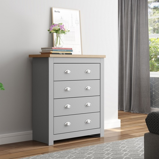 Fiona Wooden Chest Of Drawers In Grey And Oak With 4 Drawers_1
