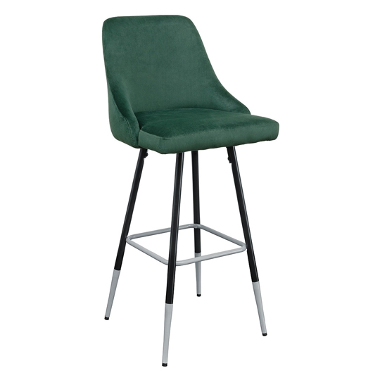 Fiona Green Fabric Bar Stool With Metal Legs