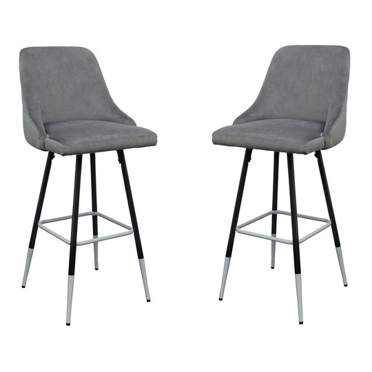 Fiona Grey Fabric Bar Stool In Pair
