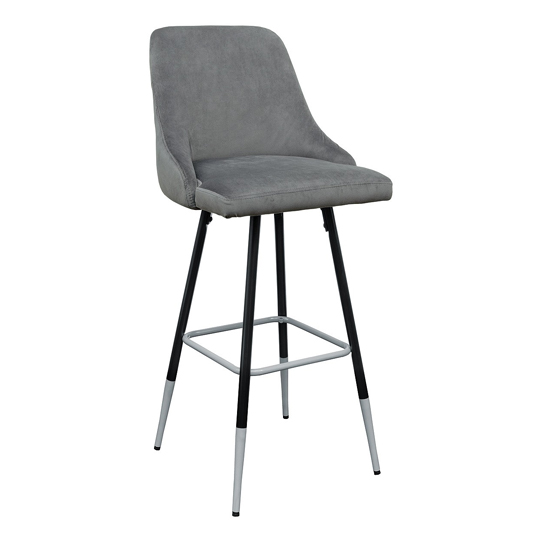 Fiona Grey Fabric Bar Stool With Metal Legs