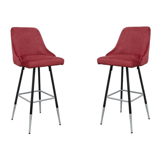 Fiona Red Fabric Bar Stool In Pair