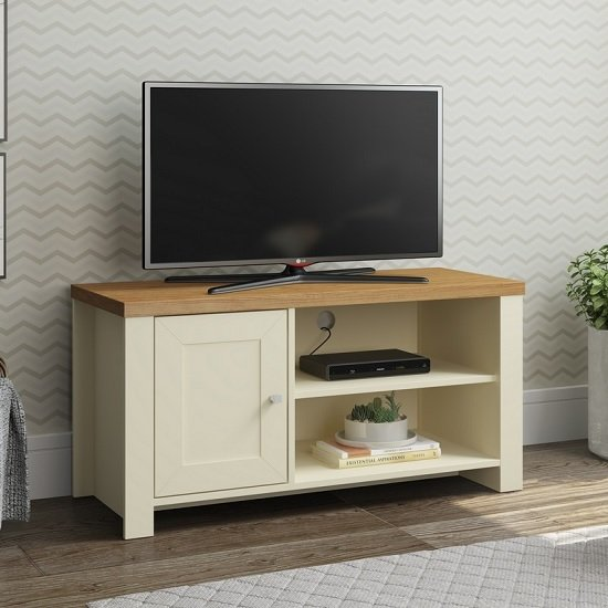 Fiona Wooden Small TV Stand In Cream And Oak With 1 Door