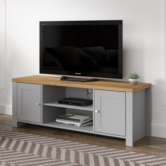 Fiona Wooden TV Stand In Grey And Oak With 2 Doors_1