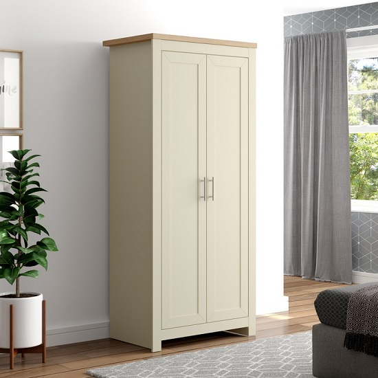 Fiona Wooden Wardrobe In Cream And Oak With 2 Doors_1