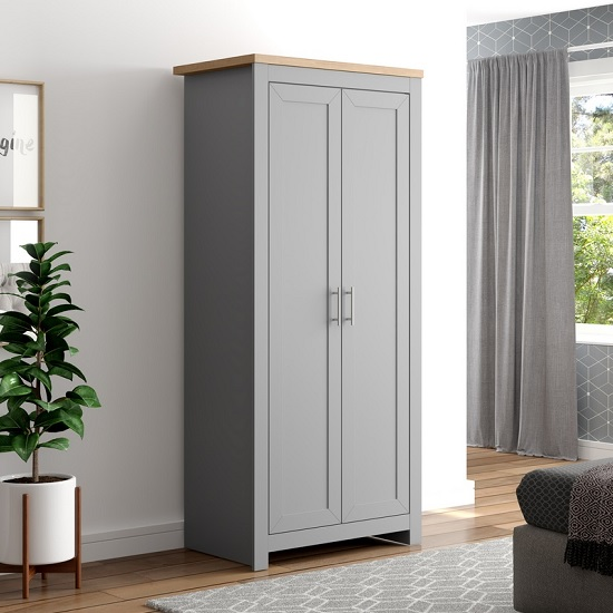 Fiona Wooden Wardrobe In Grey And Oak With 2 Doors