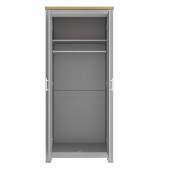 Fiona Wooden Wardrobe In Grey And Oak With 2 Doors_2
